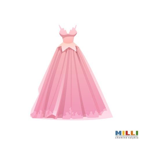 Vestuvinė suknelė pūsta, raukiniuota, puošta (sausas valymas)